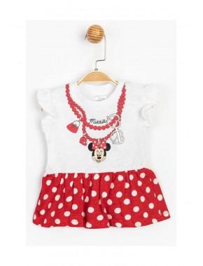 Kız Bebek Kırmızı Beyaz Puantiyeli Minnie Mouse   Elbise T20Y15545DSN01