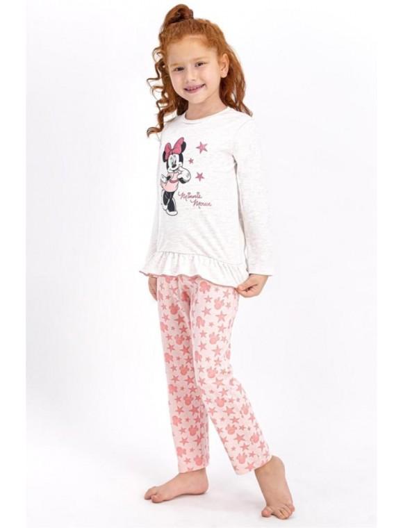 Kız Çocu Bej Disney Minnie Mouse Pijama Takımı Kremmelanj D4 410-3