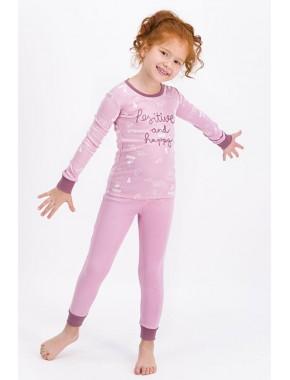 Kız Çocuk Açık Gül Kurusu Positive And Happy Pijama Takımı