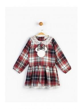Kız Çocuk Dantelli Ekose Elbise