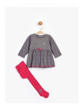 Kız Çocuk Gri Elbise Ve Çorap