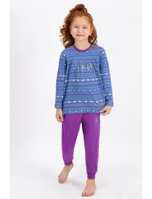 Kız Çocuk İndigo Pijama Takımı