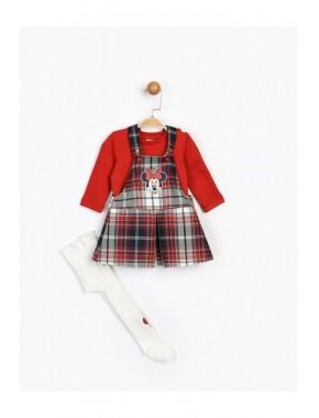 Kız Çocuk Kırmızı Minnie Etekli Salopet Takım 16094