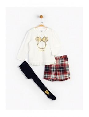 Kız Çocuk Minnie Etekli Takım Ve Külotlu Çorap 16121