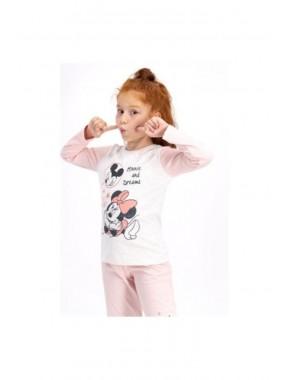 Kız Çocuk Pembe Disney Pijama Takımı D4411-3