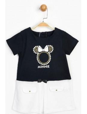 Kız Çocuk Siyah Beyaz  Minnie Mouse & Taş Baskılı Elbise 15513