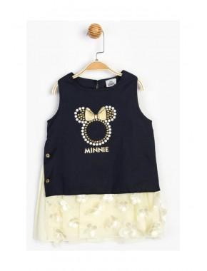 Kız Çocuk Siyah Ekru Minnie Mouse Lisanslı  Elbise T20Y15634DSN01