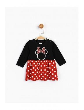 Kız Çocuk Siyah Minnie Pul Detaylı Elbise