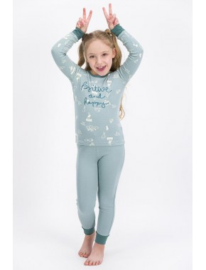 Kız Çocuk Soluk Mint Positive And Happy Pijama Takımı