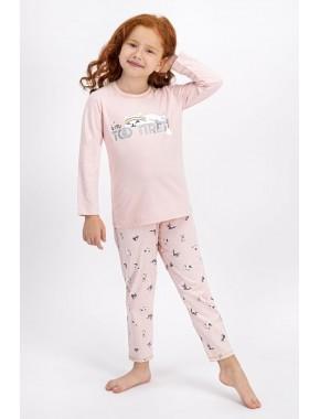 Kız Çocuk Somon Tired Cat  Pijama Takımı