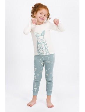 Kız Çocuk Vanilya Rabbit Happy Pijama Takımı