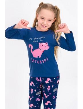 Koyu İndigo Caturday Kız Çocuk Pijama Takımı