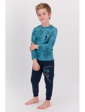 Koyu Petrol Erkek Çocuk Ribanalı Pijama Takımı