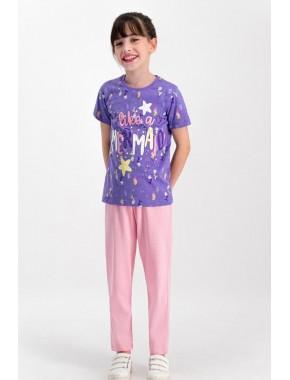 Like Mermaid Mor Kız Çocuk Pijama Takımı RP1743-C