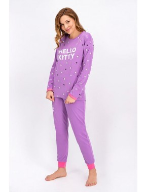 Lila Lisanslı Kadın Pijama Takımı