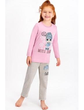 Lisanslı Açık Gül Kurusu Lisanslı Kız Çocuk Pijama Takımı