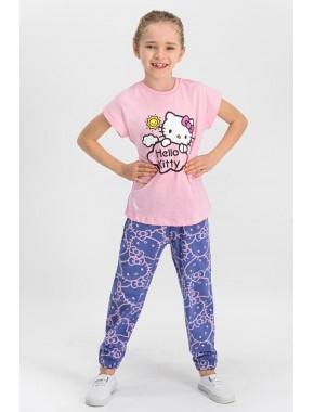 Lisanslı Açık Pembe Kız Çocuk Pijama Takımı L1107-C