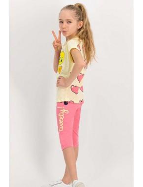 Lisanslı Açık Sarı Kız Çocuk Tayt Takım L1115-C