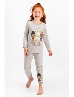 Lisanslı Bej melanj Lisanslı Kız Çocuk Pijama Takımı