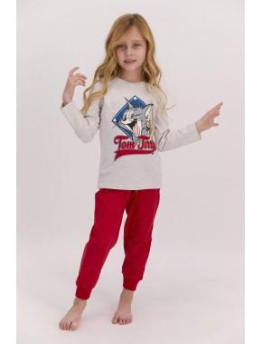 Lisanslı Bejmelanj Kız Çocuk Pijama Takımı