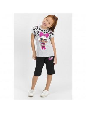 Lisanslı Karmelanj Kız Çocuk Kapri Takım L1154-C