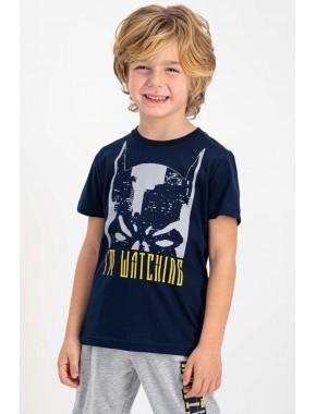 Lisanslı Lacivert Kısa Kollu Erkek Çocuk Pijama Takımı