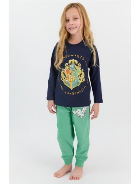 Lisanslı Lacivert Kız Çocuk Ribanalı Pijama Takımı