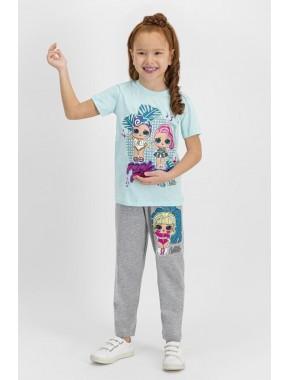 Lisanslı Nil Yeşil Kız Çocuk Pijama Takımı L1150-C