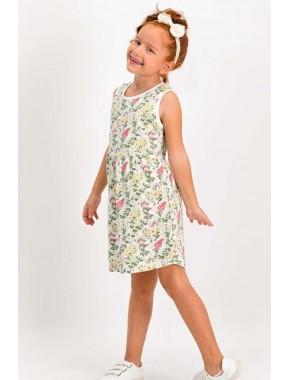 Little Flowers Krem Kız Çocuk Homewear Elbise