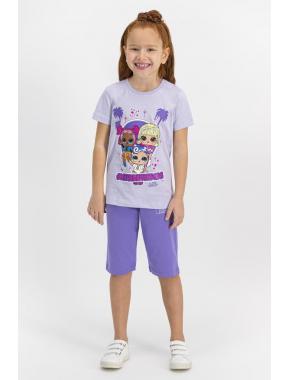 Lol Lisanslı Açık Sarı Kız Çocuk Kapri Takım L1151-C