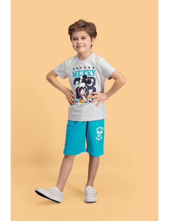 Mickey & Minnie Mouse Lisanslı Açık Gri Erkek Çocuk Bermuda Takım D4122-C-V1