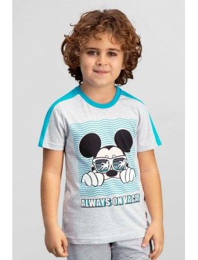 Mickey & Minnie Mouse Lisanslı Açık Gri Erkek Çocuk T-Shirt TD-110-C-V3
