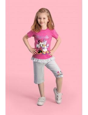 Mickey & Minnie Mouse Lisanslı Fuşya Kız Çocuk Kapri Takım D4112-C-V1