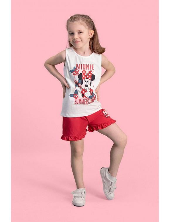 Mickey & Minnie Mouse Lisanslı Krem Kız Çocuk Şort Takım D4113-C-V1