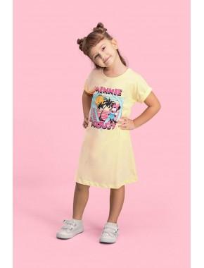 Mickey & Minnie Mouse Lisanslı Limon Sarı Kız Çocuk Gecelik D4114-C-V1
