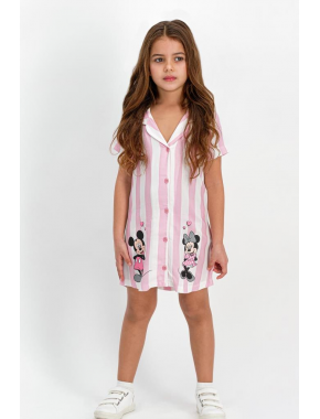 Mickey Mouse Lisanslı Beyaz-Lila Kız Çocuk Homewear Gömlek Elbise D4301-C