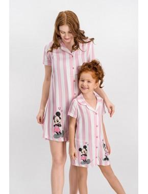 Mickey Mouse Lisanslı Beyaz-Pembe Düğmeli Kız Çocuk Homewear Gömlek Elbise