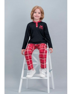 Mickey Mouse Lisanslı Ekose Siyah Erkek Çocuk Pijama Takımı V1