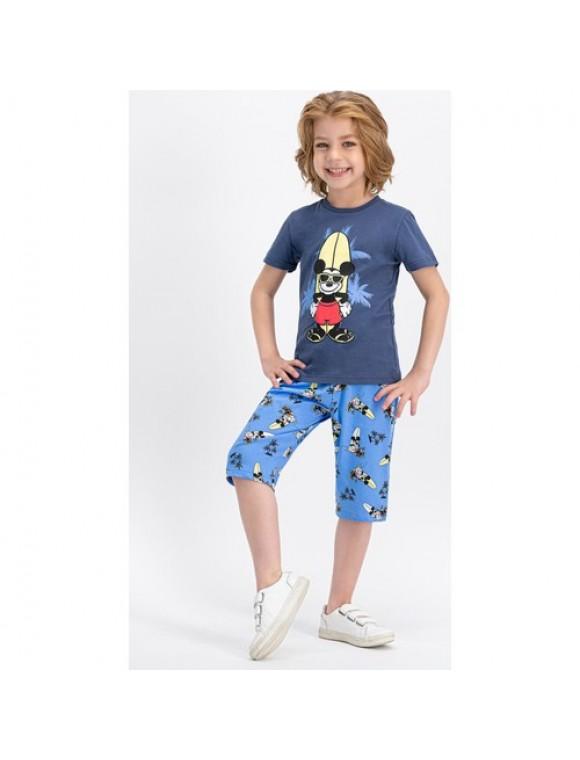 Mickey Mouse Lisanslı Gri Erkek Çocuk Kapri Takım