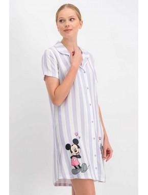 Mickey Mouse Lisanslı Kadın Elbise Yarım Kol Gömlek Model Çizgili Mickey&friends Desenli