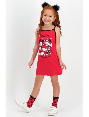 Mickey Mouse Lisanslı Kırmızı Kız Çocuk Gecelik D4309-C