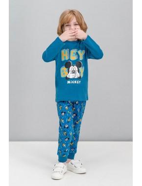 Mickey Mouse Lisanslı Koyu Petrol Erkek Çocuk Pijama Takımı V1
