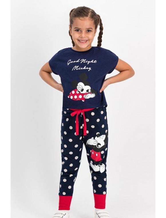 Mickey Mouse Lisanslı Lacivert Kız Çocuk Pijama Takımı
