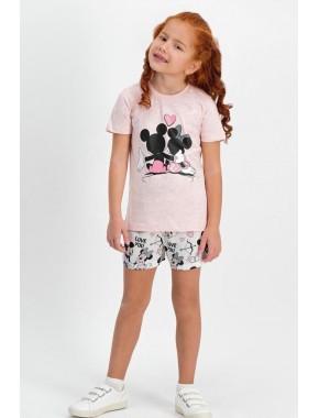 Mickey Minnie Mouse Lisanslı Somon Kız Çocuk Şort Takım D4302-C
