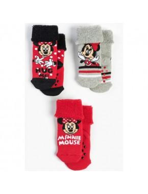 Minnie Mouse Bebek 3'lü Havlu Çorap 13640