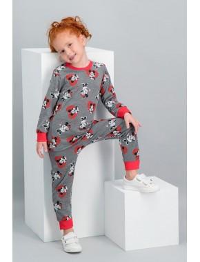 Minnie Mouse Lisanslı Açık Melanj Kız Çocuk Pijama Takımı V2