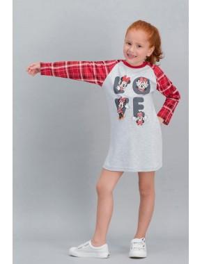 Minnie Mouse Lisanslı Ekose Karmelanj Kız Çocuk Gecelik