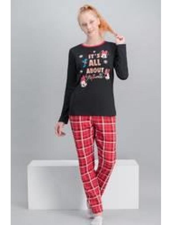 Minnie Mouse Lisanslı Ekose Siyah Kadın Pijama Takımı