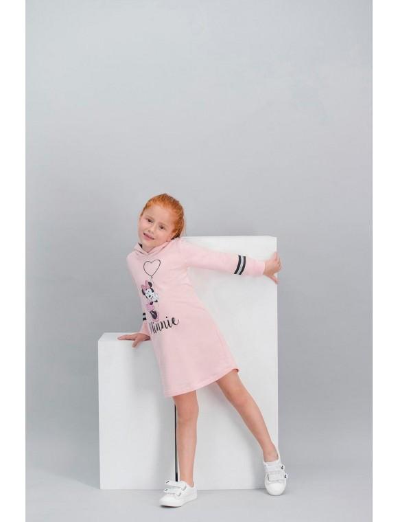 Minnie Mouse Lisanslı İnci Pembe Kız Çocuk Kapüşonlu Elbise V2