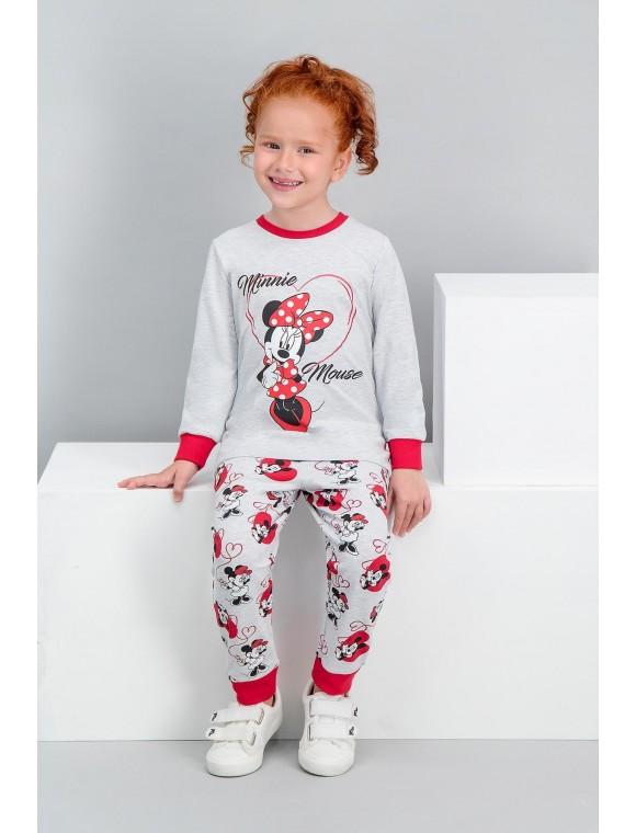 Minnie Mouse Lisanslı Karmelanj Kız Çocuk Pijama Takımı V1